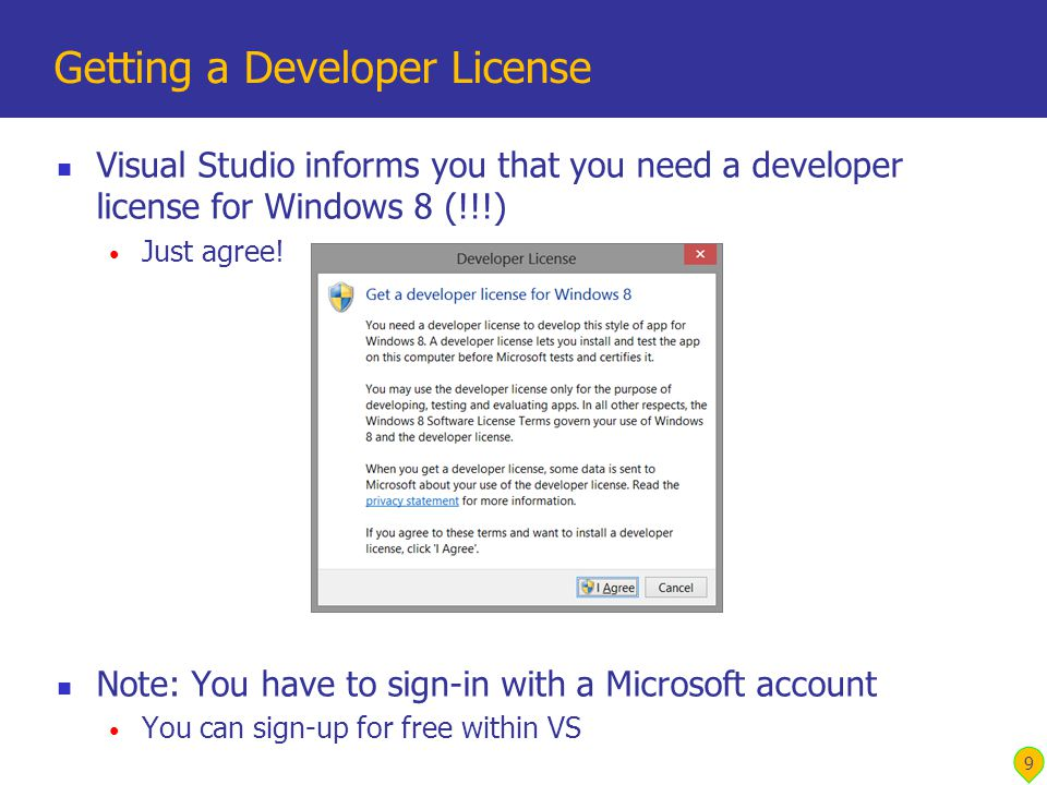 Visual Studio informs you that you need a developer license for Windows 8 (!!!) Just agree.