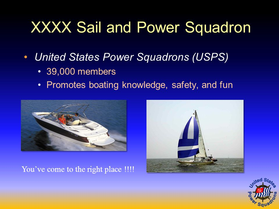 United States Power Squadrons (USPS) 39,000 members Promotes boating knowledge, safety, and fun You've come to the right place !!!!