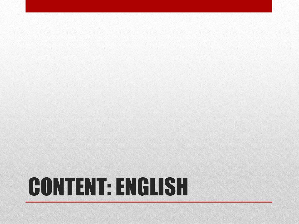 CONTENT: ENGLISH