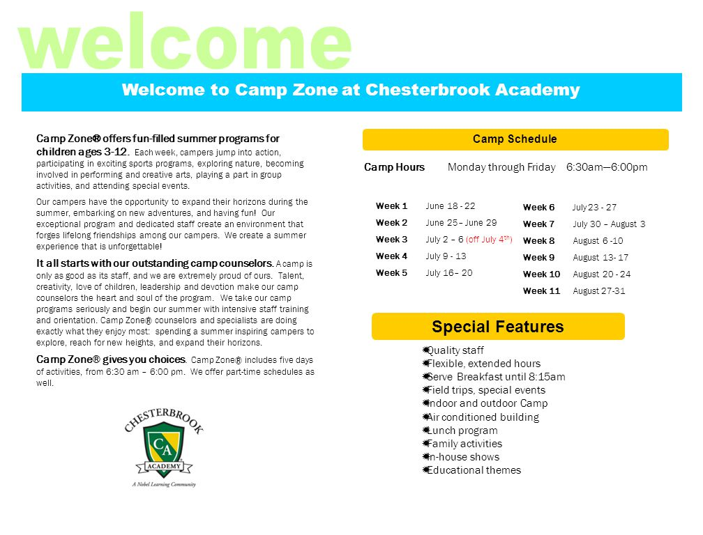 Week 1: Jumping Into Summer During our transitional week, we will be welcoming back our campers.