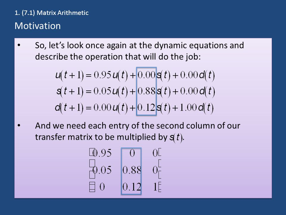 Motivation So, let's look once again at the dynamic equations and describe the operation that will do the job: And we need each entry of the second co
