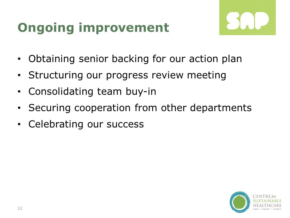 Ongoing improvement Obtaining senior backing for our action plan Structuring our progress review meeting Consolidating team buy-in Securing cooperation from other departments Celebrating our success 12