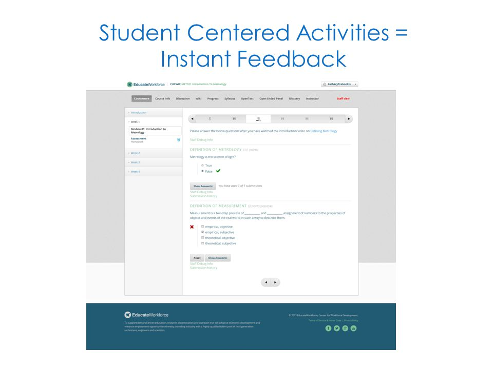Student Centered Activities = Instant Feedback