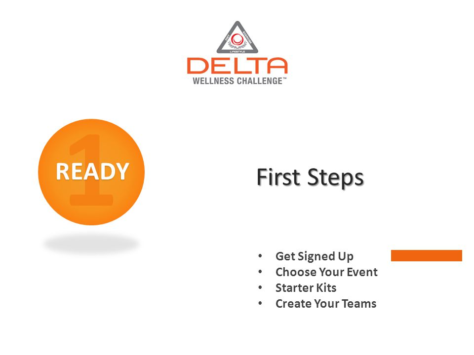 1READY First Steps Get Signed Up Choose Your Event Starter Kits Create Your Teams