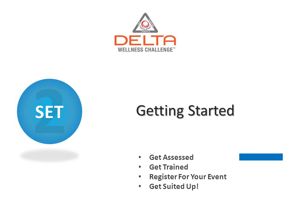Getting Started Get Assessed Get Trained Register For Your Event Get Suited Up! 2SET