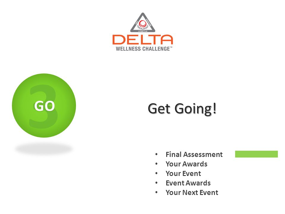 Get Going! Final Assessment Your Awards Your Event Event Awards Your Next Event 3GO