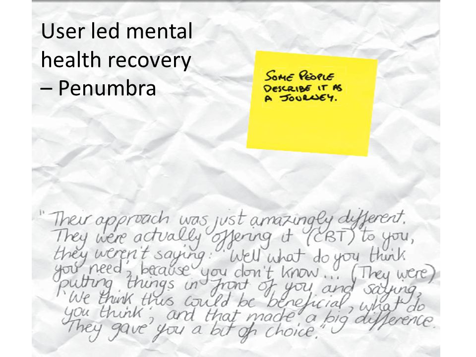 User led mental health recovery – Penumbra