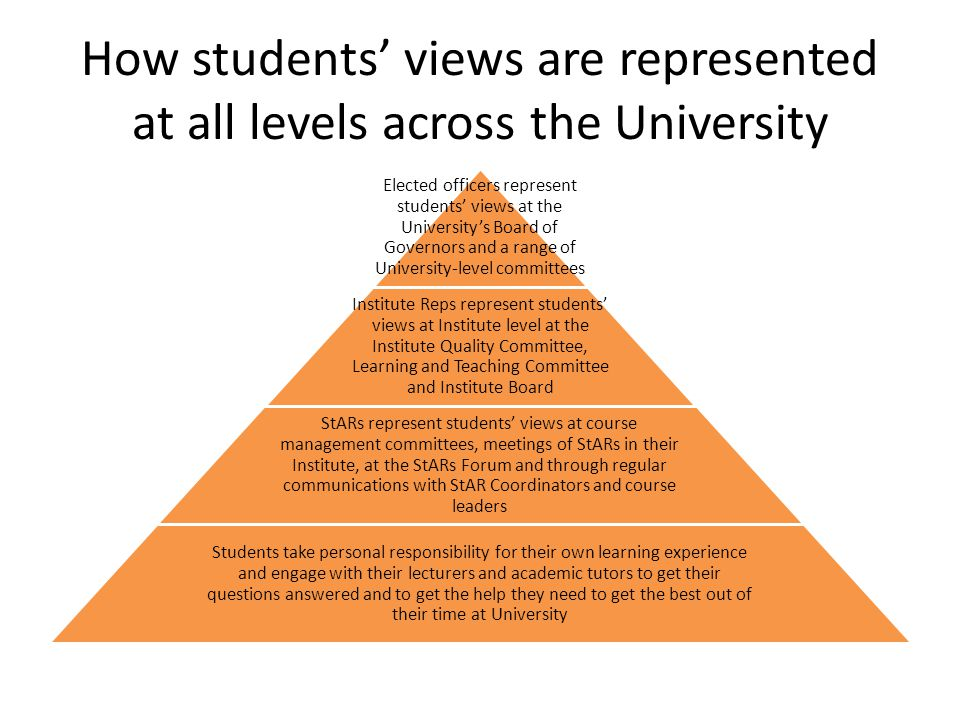 How students' views are represented at all levels across the University Elected officers represent students' views at the University's Board of Governors and a range of University-level committees Institute Reps represent students' views at Institute level at the Institute Quality Committee, Learning and Teaching Committee and Institute Board StARs represent students' views at course management committees, meetings of StARs in their Institute, at the StARs Forum and through regular communications with StAR Coordinators and course leaders Students take personal responsibility for their own learning experience and engage with their lecturers and academic tutors to get their questions answered and to get the help they need to get the best out of their time at University