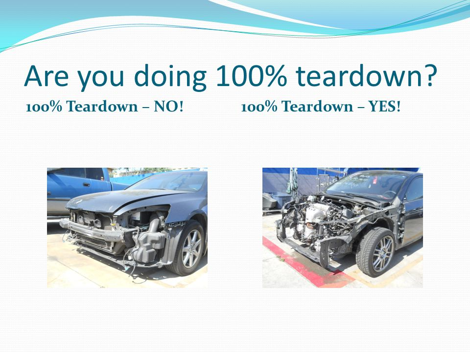 Are you doing 100% teardown? 100% Teardown – NO!100% Teardown – YES!