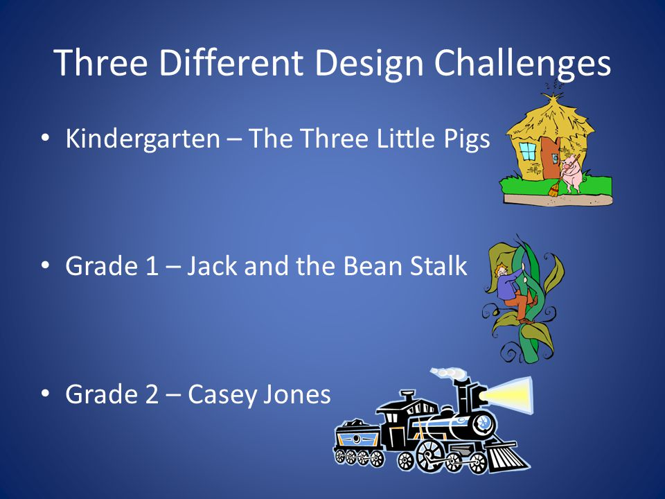 Three Different Design Challenges Kindergarten – The Three Little Pigs Grade 1 – Jack and the Bean Stalk Grade 2 – Casey Jones