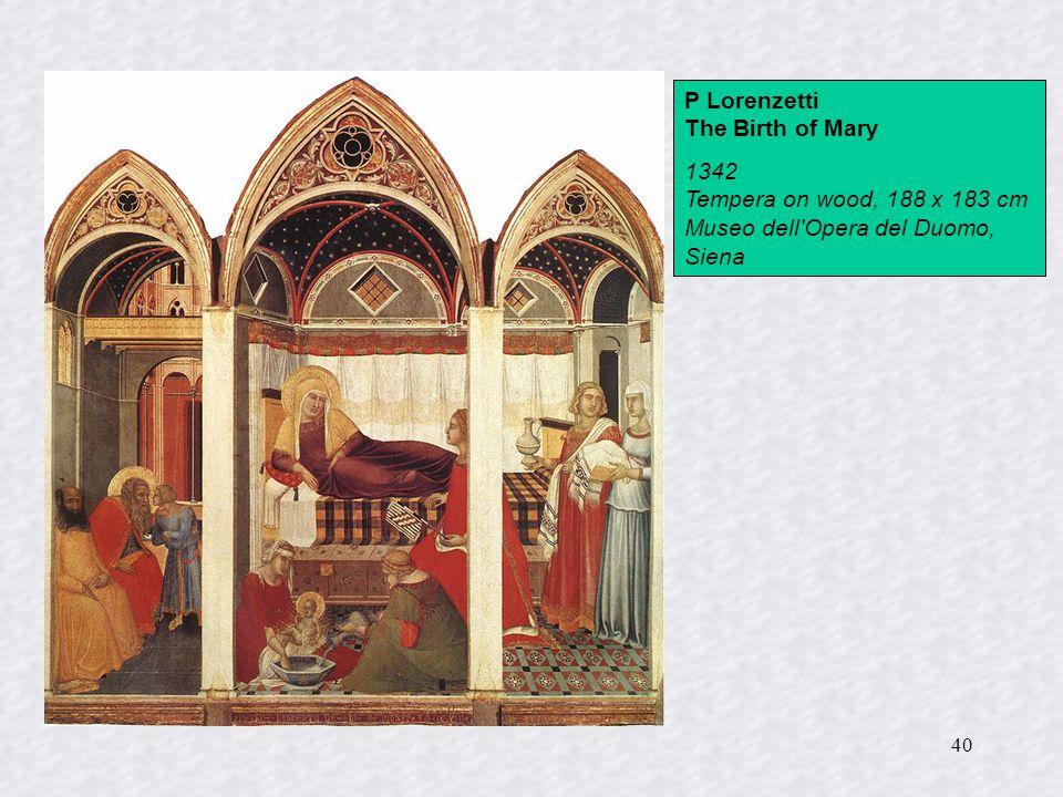 40 P Lorenzetti The Birth of Mary 1342 Tempera on wood, 188 x 183 cm Museo dell'Opera del Duomo, Siena