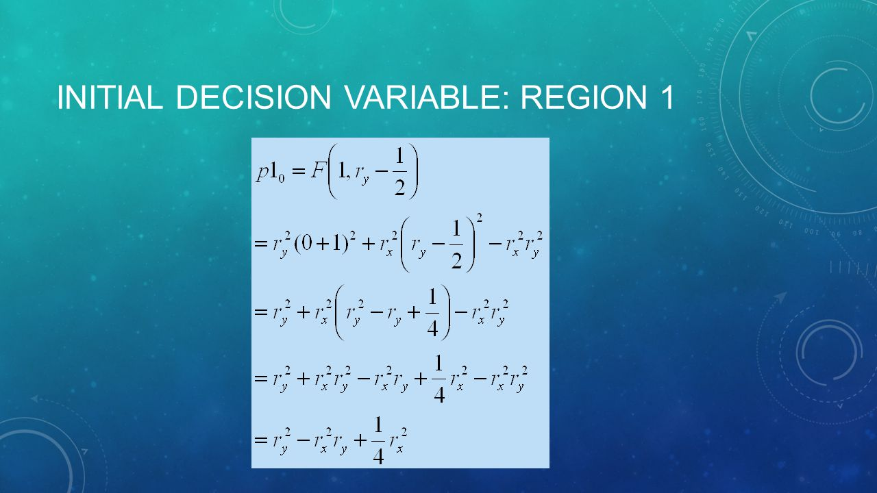 INITIAL DECISION VARIABLE: REGION 1