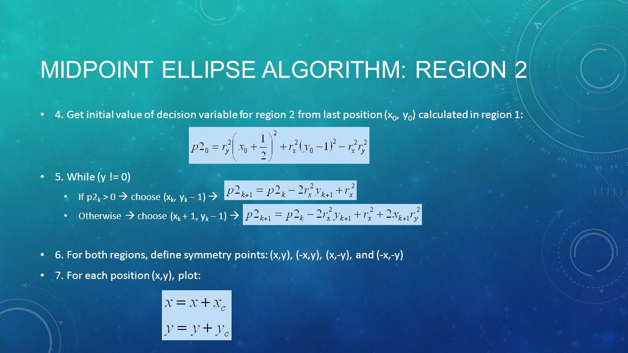 MIDPOINT ELLIPSE ALGORITHM: REGION 2 4.
