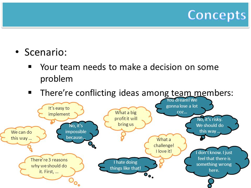 Solution: employ 6 thinking hats technique  Conflicting ideas are not conflicting, but different ideas from different perspectives It's easy to implement No, it's impossible because… What a big profit it will bring us You dream.