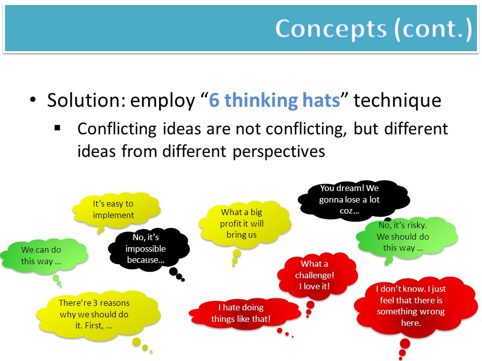 "Solution: employ ""6 thinking hats"" technique  Conflicting ideas are not conflicting, but different ideas from different perspectives It's easy to imp"
