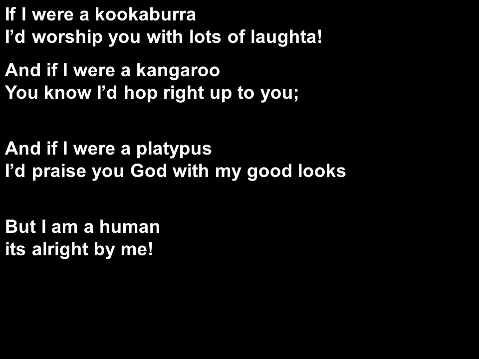 If I were a kookaburra I'd worship you with lots of laughta.