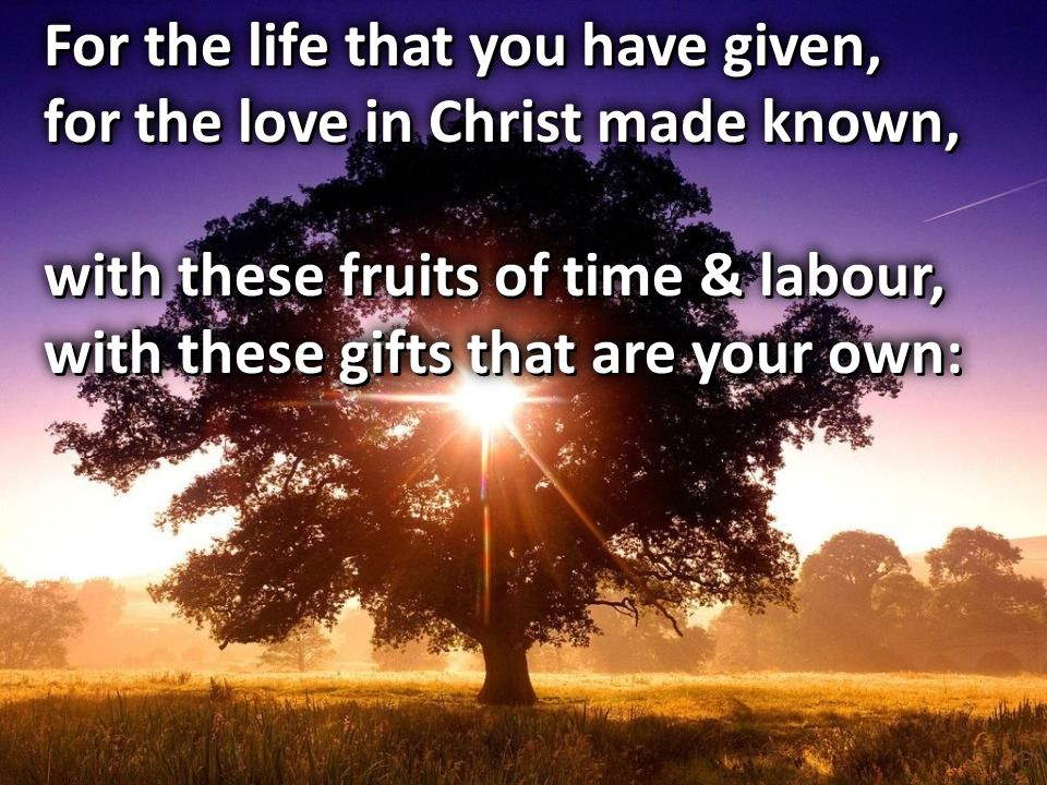 For the life that you have given, for the love in Christ made known, with these fruits of time & labour, with these gifts that are your own: For the l