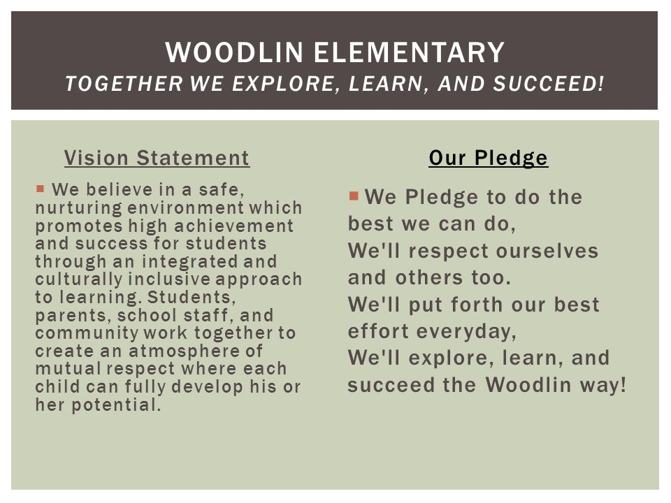 Vision Statement  We believe in a safe, nurturing environment which promotes high achievement and success for students through an integrated and culturally inclusive approach to learning.
