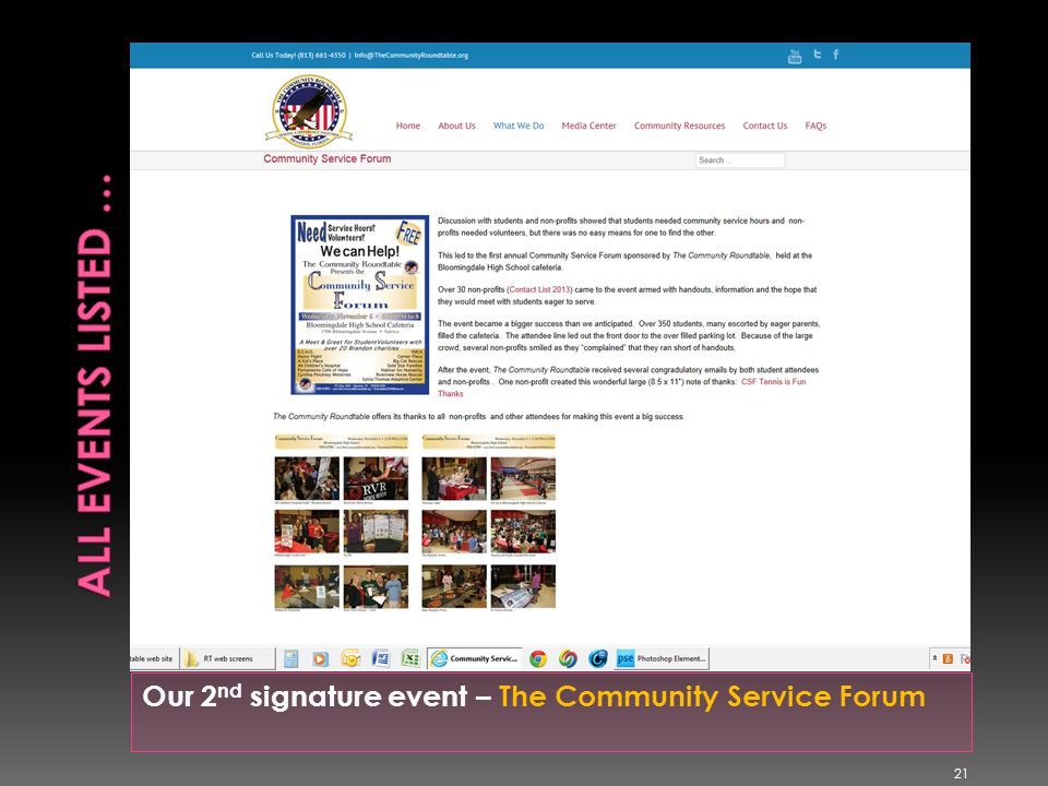Our 2 nd signature event – The Community Service Forum 21