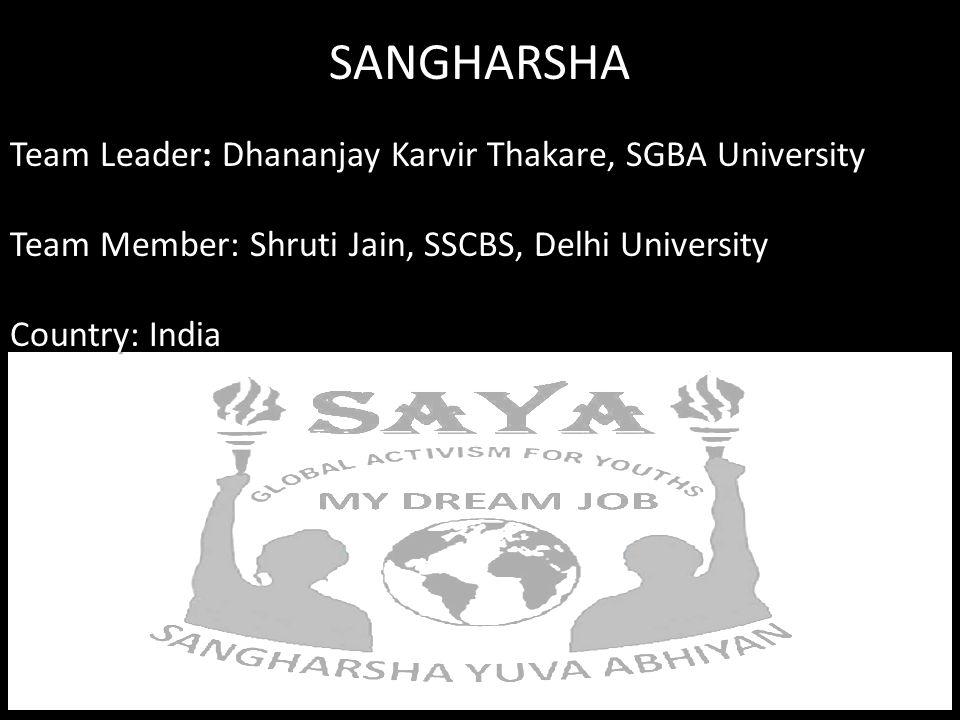 SANGHARSHA Team Leader: Dhananjay Karvir Thakare, SGBA University Team Member: Shruti Jain, SSCBS, Delhi University Country: India