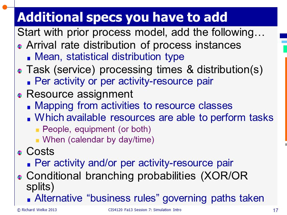 CIS4120 Fa13 Session 7: Simulation Intro © Richard Welke 2013 Additional specs you have to add Start with prior process model, add the following… Arri