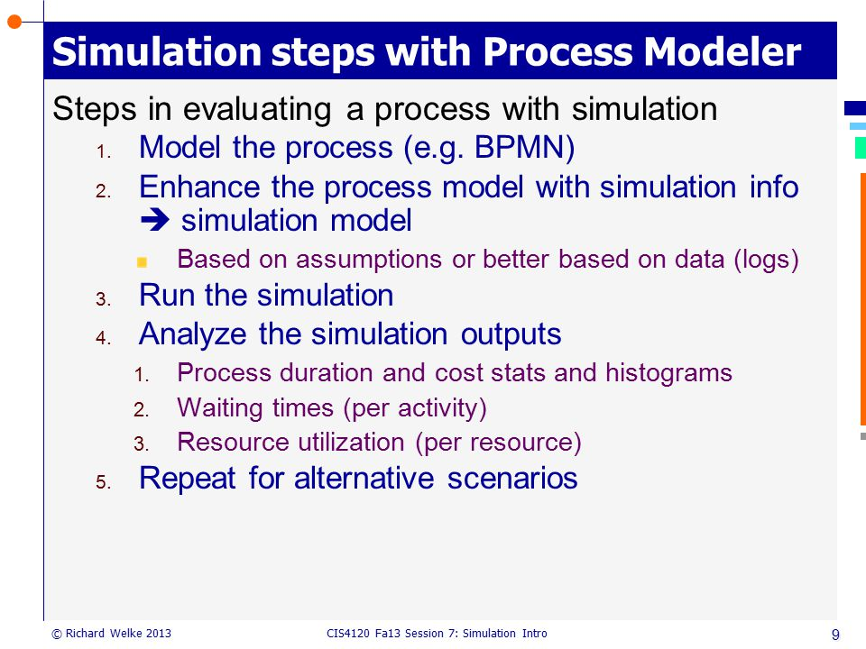 CIS4120 Fa13 Session 7: Simulation Intro © Richard Welke 2013 Simulation steps with Process Modeler Steps in evaluating a process with simulation 1. M