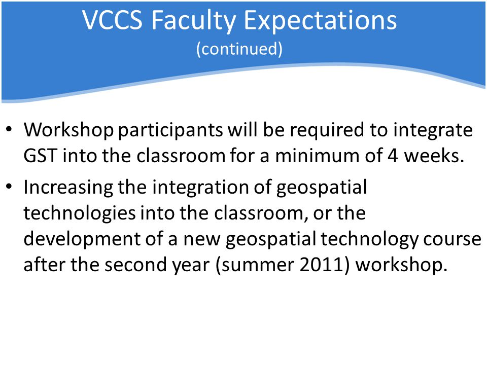 VCCS Faculty Expectations (continued) Workshop participants will be required to integrate GST into the classroom for a minimum of 4 weeks.