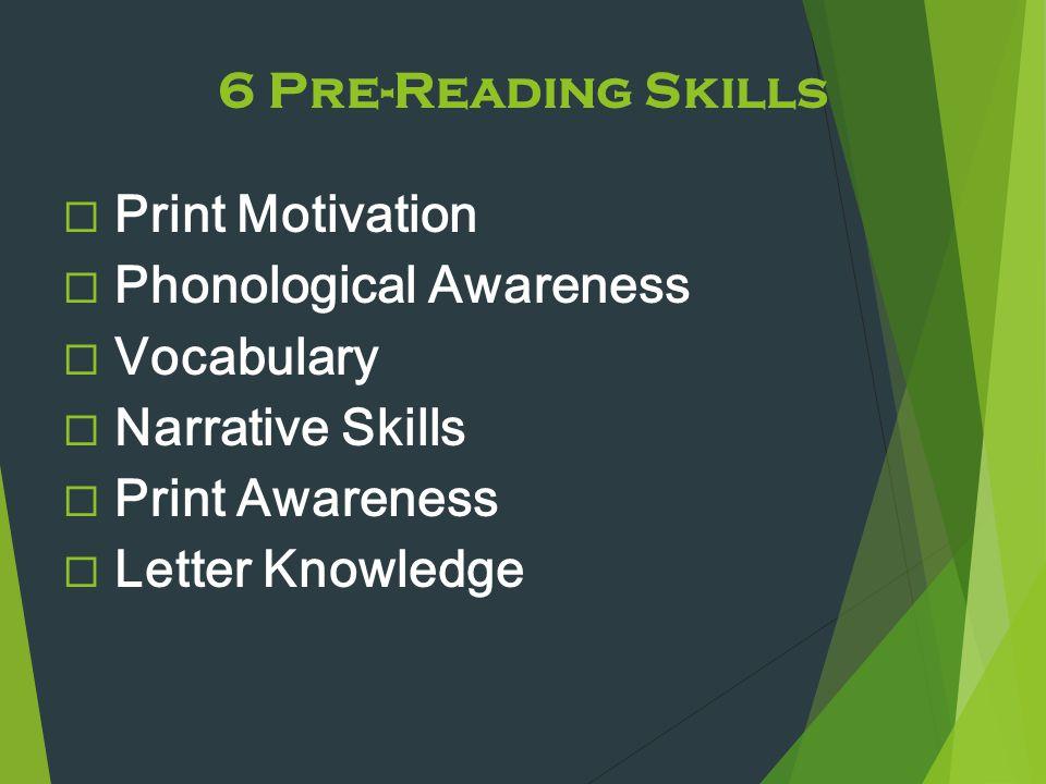 6 Pre-Reading Skills  Print Motivation  Phonological Awareness  Vocabulary  Narrative Skills  Print Awareness  Letter Knowledge