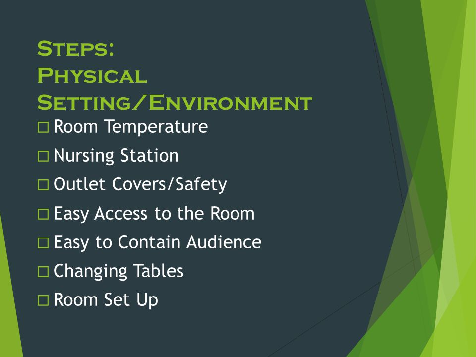 Steps: Physical Setting/Environment  Room Temperature  Nursing Station  Outlet Covers/Safety  Easy Access to the Room  Easy to Contain Audience 