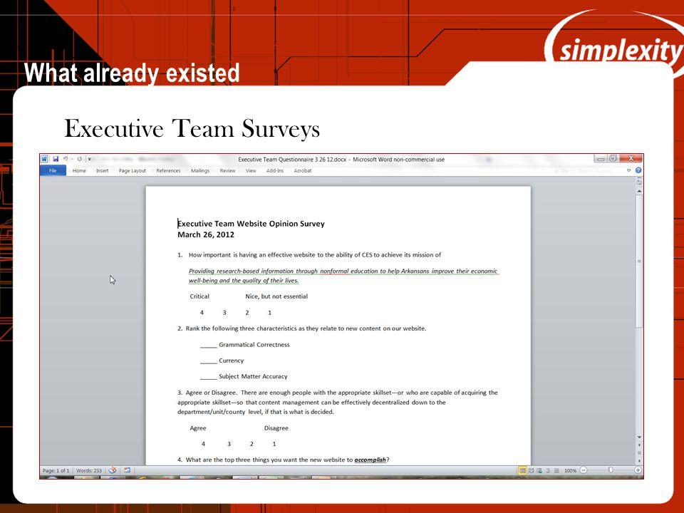 What already existed Executive Team Surveys