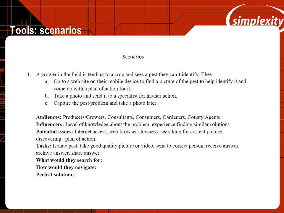 Tools: scenarios