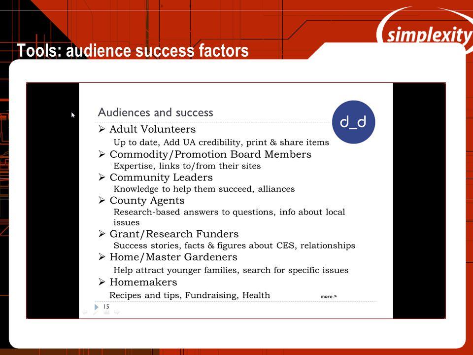 Tools: audience success factors