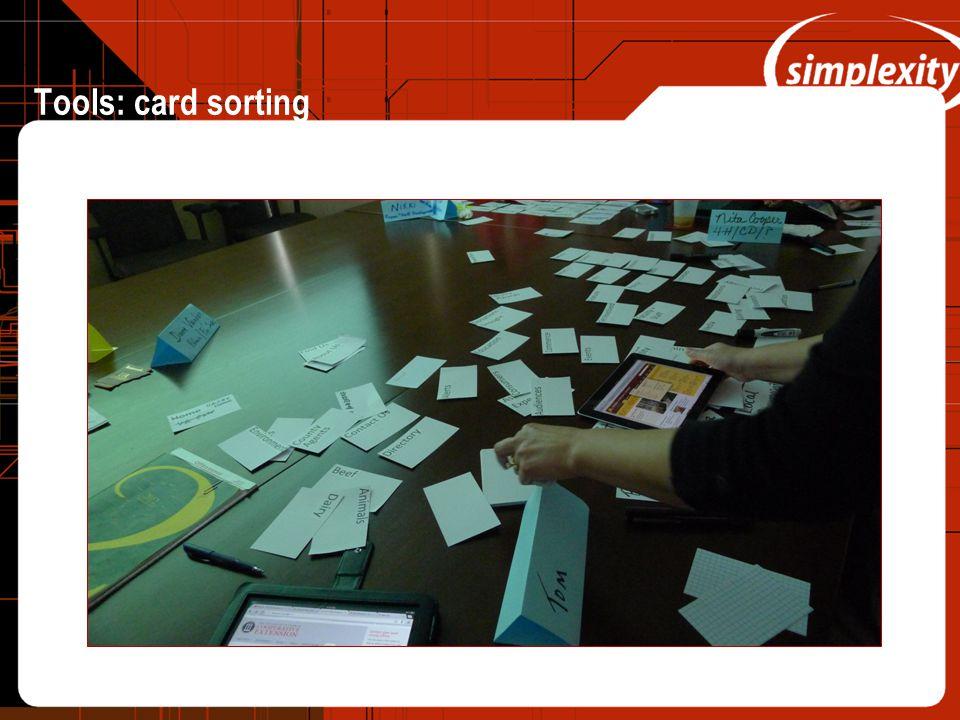 Tools: card sorting