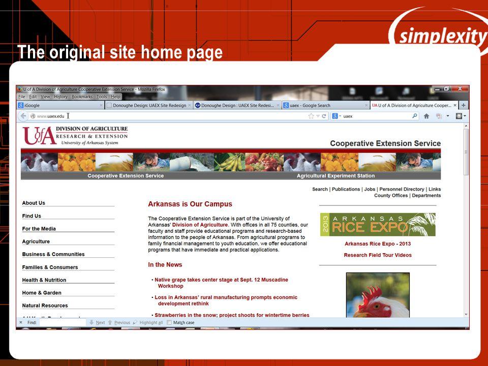 The original site home page