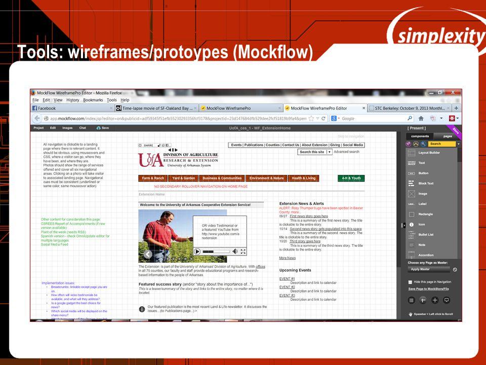 Tools: wireframes/protoypes (Mockflow)