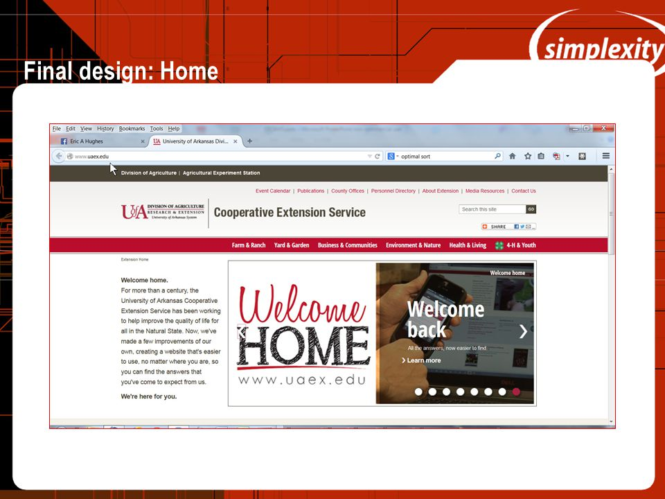 Final design: Home