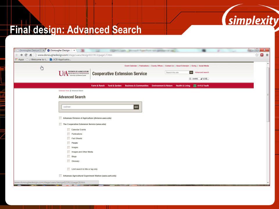 Final design: Advanced Search