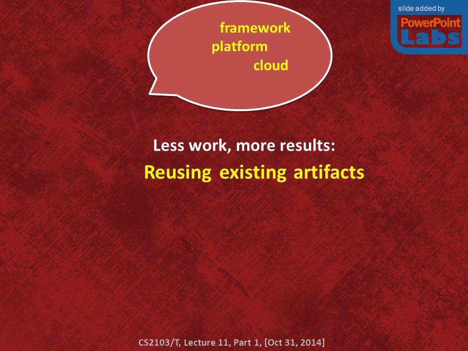 Patterns Principles Reusing experience Processes Reusing existing artifacts blah framework blah platform blah blah blah cloud blah blah blah …