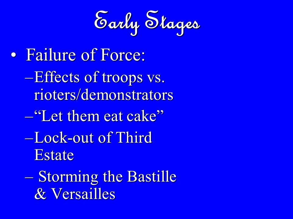 Early Stages Failure of Force: Failure of Force: –Effects of troops vs.