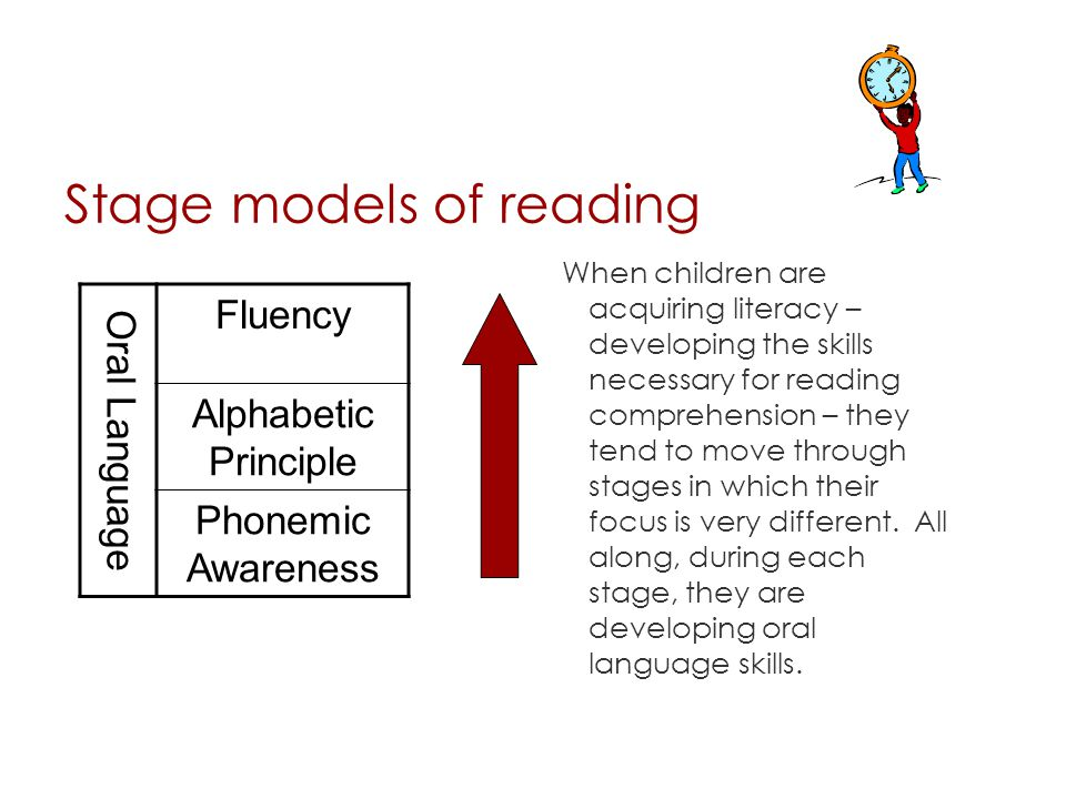 Stage models of reading When children are acquiring literacy – developing the skills necessary for reading comprehension – they tend to move through s