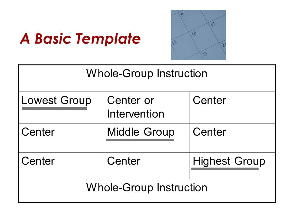 A Basic Template Whole-Group Instruction Lowest GroupCenter or Intervention Center Middle GroupCenter Highest Group Whole-Group Instruction