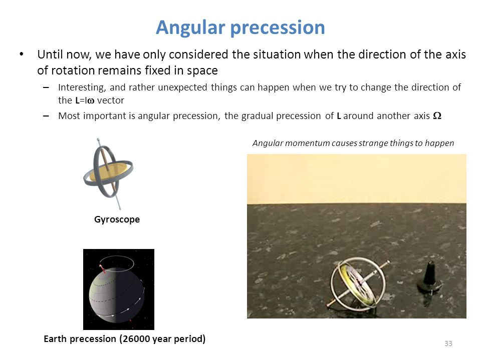 Angular precession Until now, we have only considered the situation when the direction of the axis of rotation remains fixed in space – Interesting, a