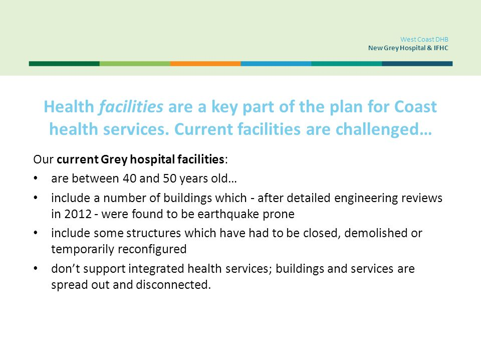 Health facilities are a key part of the plan for Coast health services. Current facilities are challenged… Our current Grey hospital facilities: are b