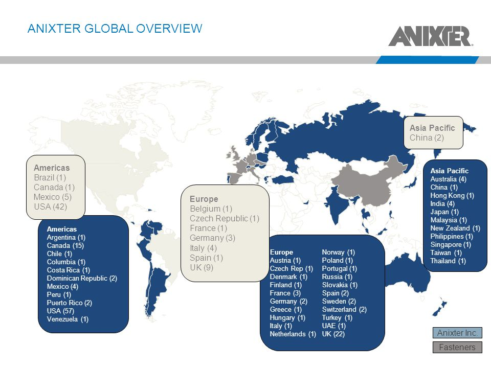 ANIXTER GLOBAL OVERVIEW Anixter Inc. Americas Argentina (1) Canada (15) Chile (1) Columbia (1) Costa Rica (1) Dominican Republic (2) Mexico (4) Peru (