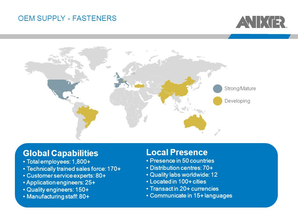 OEM SUPPLY - FASTENERS 17 Global Capabilities Total employees: 1,800+ Technically trained sales force: 170+ Customer service experts: 80+ Application