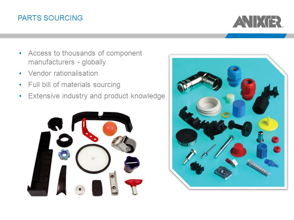 PARTS SOURCING Access to thousands of component manufacturers - globally Vendor rationalisation Full bill of materials sourcing Extensive industry and