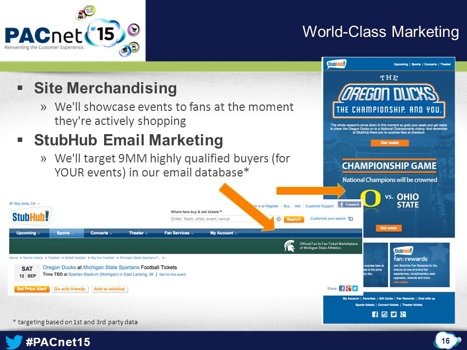 #PACnet15  Site Merchandising » We'll showcase events to fans at the moment they're actively shopping  StubHub Email Marketing » We'll target 9MM hi