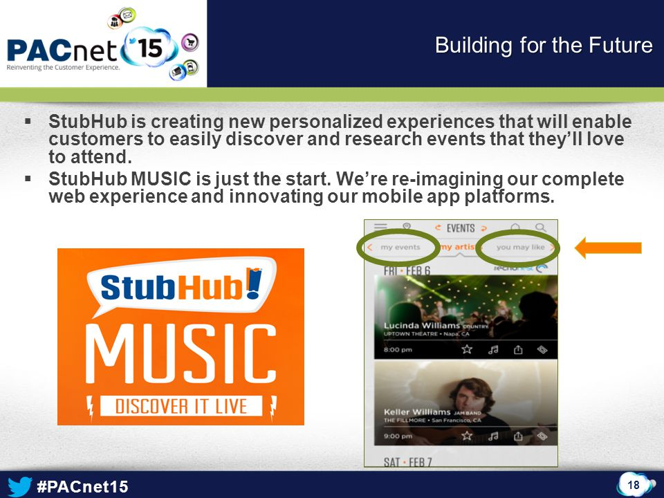 #PACnet15  StubHub is creating new personalized experiences that will enable customers to easily discover and research events that they'll love to at