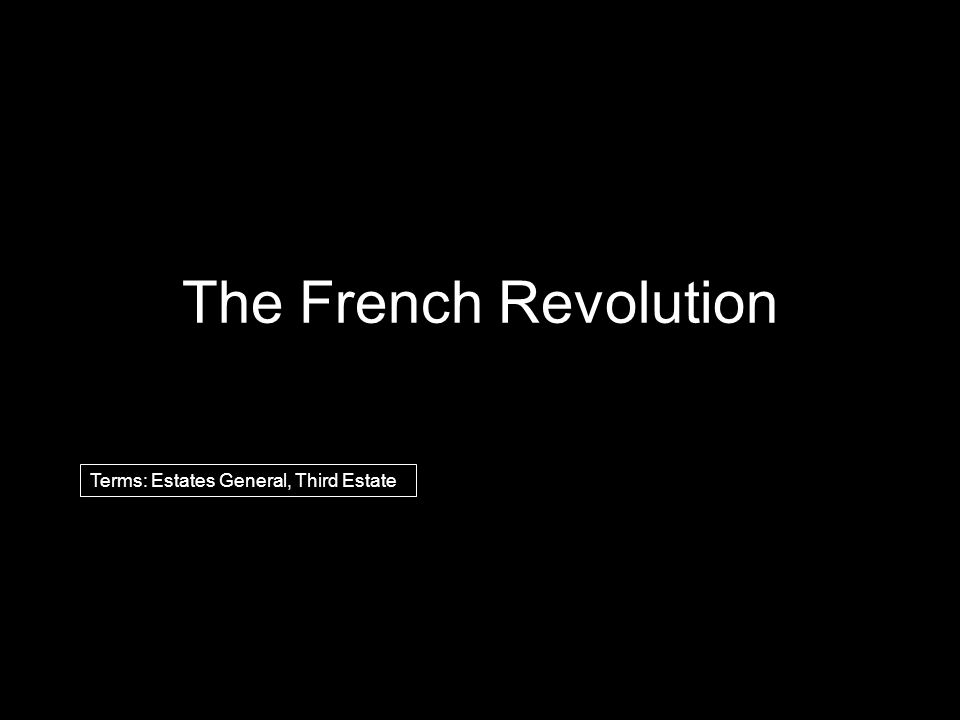 The French Revolution Terms: Estates General, Third Estate