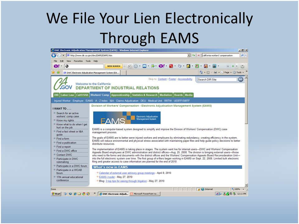 We File Your Lien Electronically Through EAMS